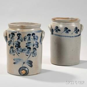 Two Cylindrical Cobaltdecorated Baltimore Stoneware Crocks