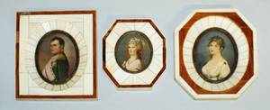 1186 GROUP OF THREE MINIATURE PORTRAITS ON IVORY