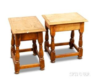 Pair of William and Marystyle Maple Joint Stools