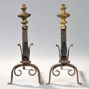 Pair of Giltbrass and Wrought Iron Andirons
