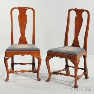Pair of Carved Mahogany Side Chairs