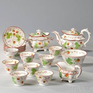 Twentypiece Strawberry Lustre Tea Service