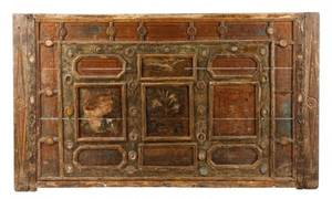 Carved Polychrome  Glass Accented Panel 18th C