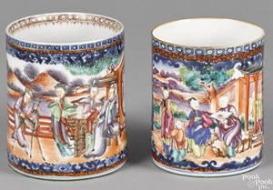 Two similar large Chinese export porcelain Mandarin palette mugs early 19th c