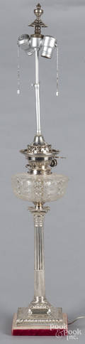 English silver candlestick table lamp