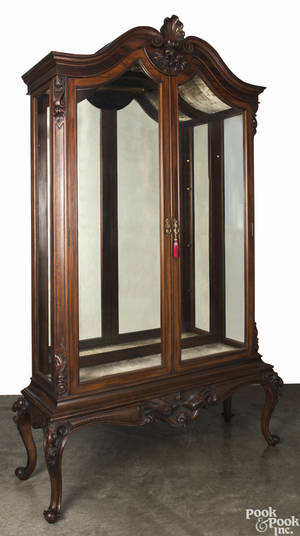 Carved mahogany display cabinet