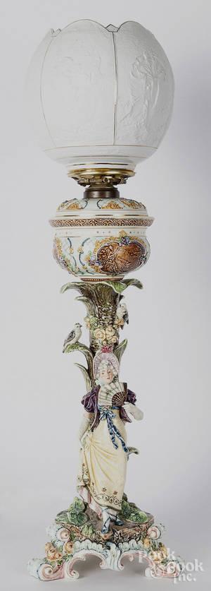 Austrian majolica style fluid lamp