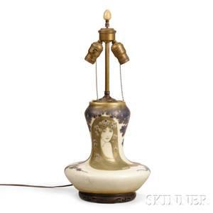 Art Nouveau Handpainted Vase Table Lamp