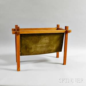 Midcentury Modern Teak and Suede Magazine Rack