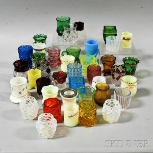 Forty Glass Salts and Toothpick Holders