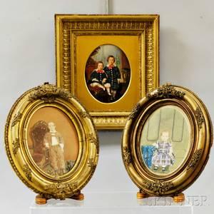 Three Framed Victorian Handcolored Photographs of Children