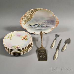 Set of Six Limoges Porcelain Fish Plates and a Platter and Four Serving Pieces