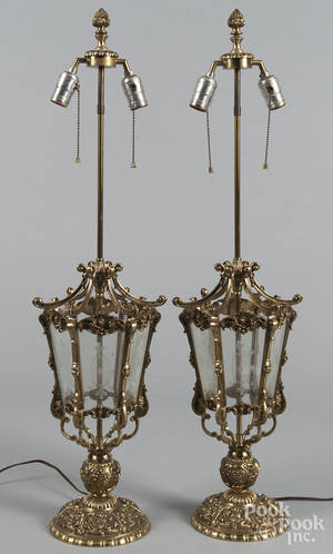 Pair of brass table lamps with etched glass panels