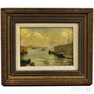 William Anton Claus American 18621926 Tug Boats at Dock