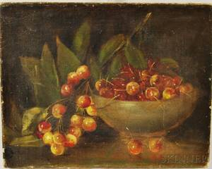 American School 19th Century Still Life with Cherries