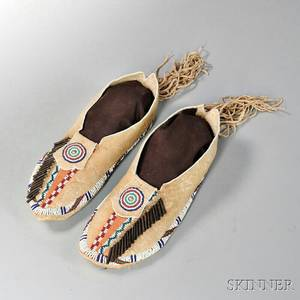 Pair of Beaded Hide Comanche Moccasins