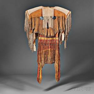 Rare and Important Plains Apache Womans Dress and Moccasins