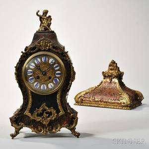 French Boulle Mantel Clock and Bracket