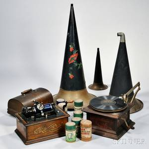 Oak Cased Edison Standard Phonograph and a Victor Talking Machine