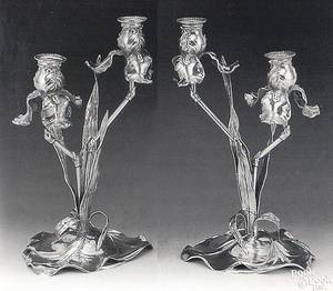Pair of German silver art nouveau candlesticks late 19th c