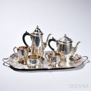 Fivepiece Lunt Sterling Silver Tea and Coffee Service with an Associated Sterling Silver Tray