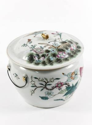 Chinese Butterfly  Floral Motif Porcelain Jar