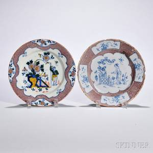 Two Tinglazed Earthenware Powder Manganese Decorated Plates