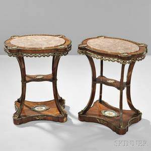 Pair of Napoleon III Marbletop Kingwood Table Ambulants