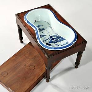 Canton Porcelain Bidet with Mahogany Stand