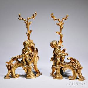 Pair of Louis XVstyle Bronze Chenets