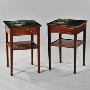 Pair of Louis Philippe MarbleTop Mahogany Planter Tables