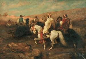 After Adolph Schreyer FrenchGerman 18281899 Arabs on Horseback