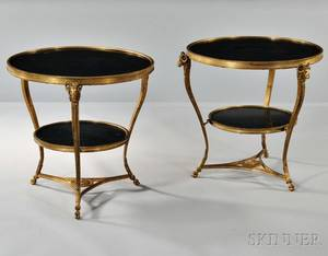 Pair of Louis XVIstyle Giltbronze and Marble Gueridons