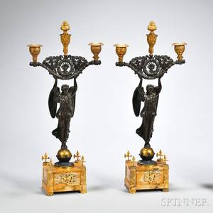 Pair of Empire Gilded and Patinated Bronze Figural Threelight Candelabra