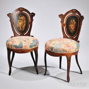 Pair of Victorian Rosewood Inlaid Side Chairs