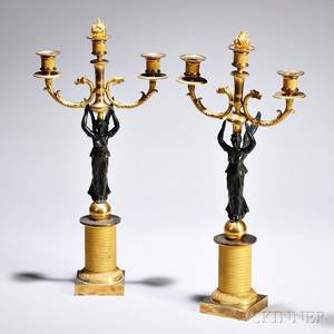Pair of Empirestyle Giltbronze Threelight Candelabra