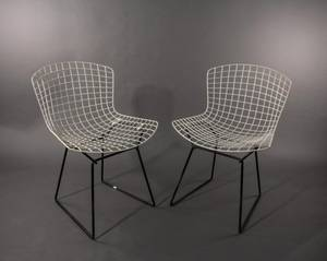 Pair of Bertoia for Knoll White  Black Chairs