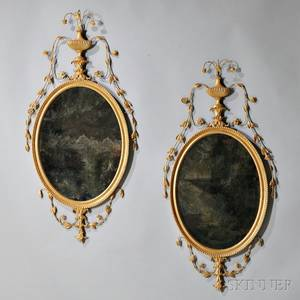 Pair of George IIIstyle Giltwood Mirrors