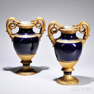 Pair of Meissen Porcelain Snakehandled Vases