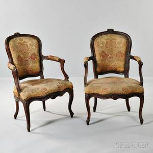 Pair of Louis XVstyle Carved Beechwood Armchairs