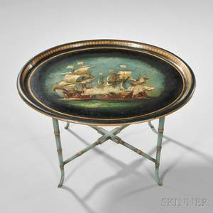 Regency Papiermache Tray on Stand
