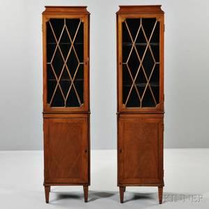 Pair of Edwardian Inlaid Mahogany China Cabinets