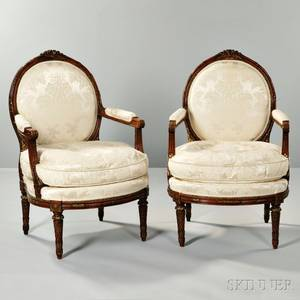 Pair of Louis XVIstyle Parcelgiltwood Armchairs