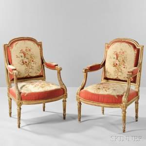 Pair of Louis XVIstyle Giltwood Fauteuils