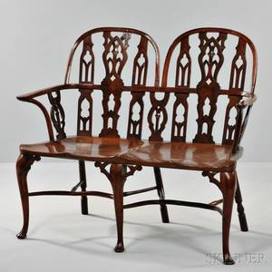 Georgianstyle Mahogany and Yewwood Settee