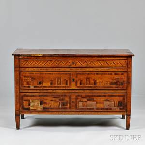 Italian Neoclassical Fruitwood and Olivewood Marquetry Commode