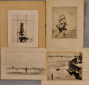 Four Prints of Ships and Ocean Scenes Including Charles Herbert Woodbury American 18641940 The Ebb Tide