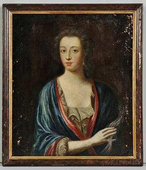 British School 18th Century Portrait of a Lady in a Blue Wrap