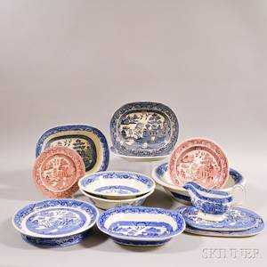 Thirteen Pieces of Transferdecorated Willowpattern Pottery