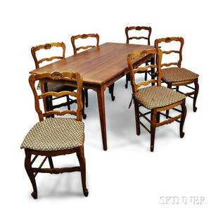 French Provincialstyle Fruitwood Table and Six Chairs